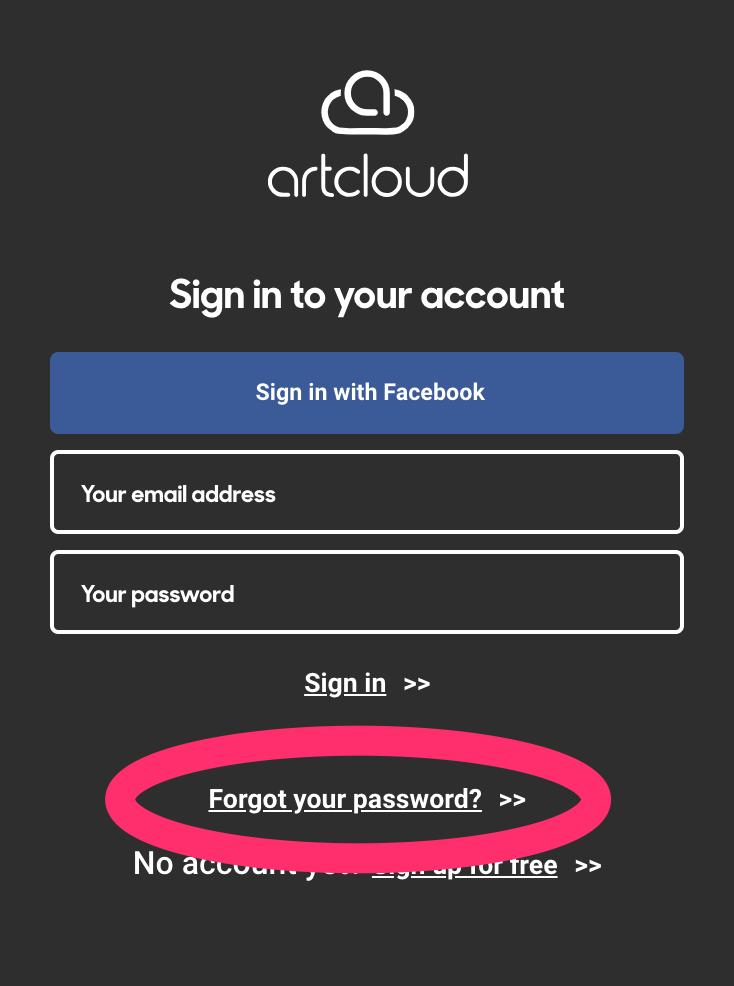 Reset your ArtCloud password